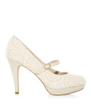 Winter White Cream Wide Fit Crochet Strap Platform Court Shoes 306939912 Bridesmaid