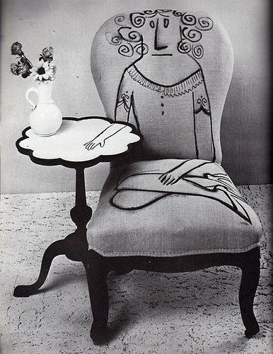 Saul Steinberg.  Just Classic.  http://www.improvisedlife.com/2011/06/21/drawing-on-furniture-like-saul-steinberg/