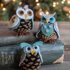 Felt pinecone owl ornamant