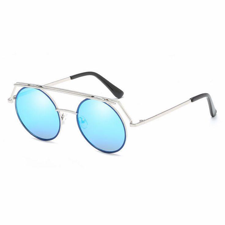 Flat Top Brow Bar Round Metal Sunglasses Silver/Blue