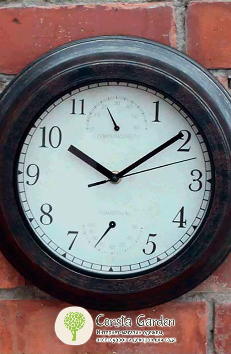 Уличные часы Bronze Effect Briers.Оригинальный и функциональный декор для фасада загородного дома, беседки, террасы или балкона  –  часы в широкой раме с античной бронзовой патиной.