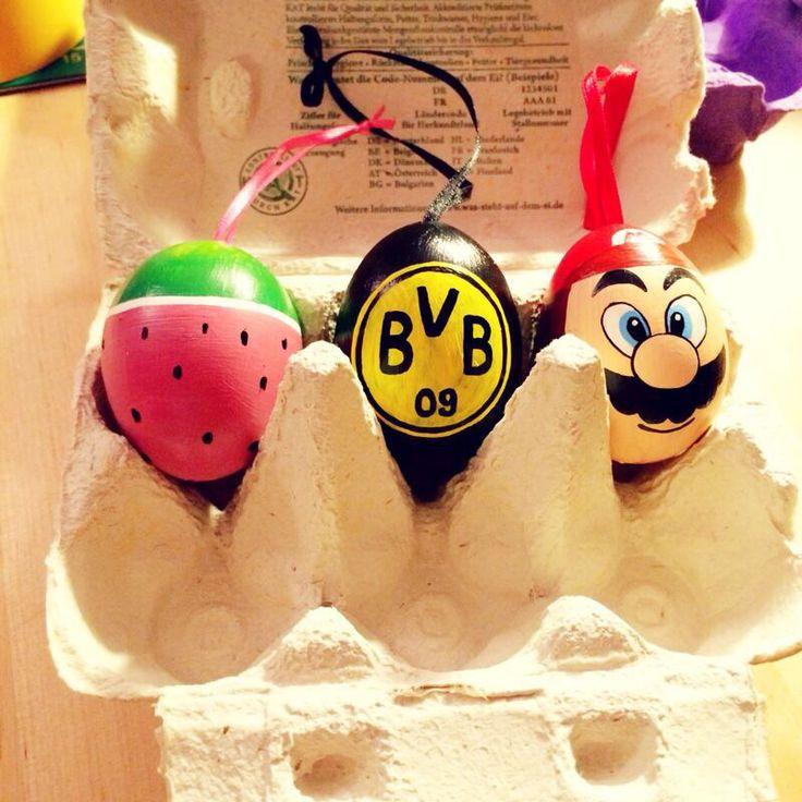 Easter eggs, handpainted. #diy #easter #egg #mario #melon #bvb