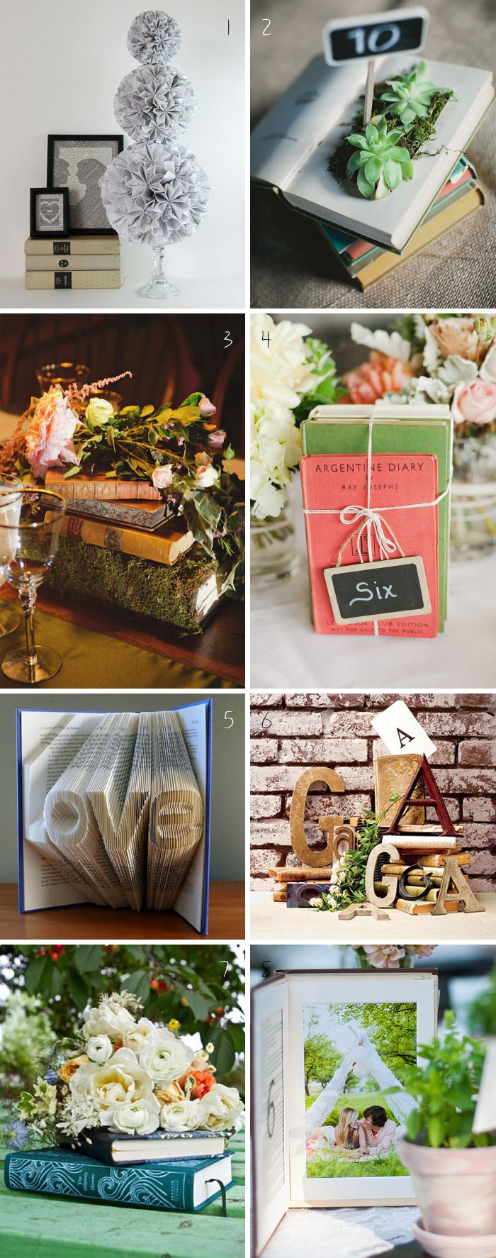 9 Book Themed Wedding Centerpieces