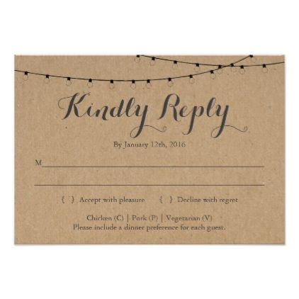 Invitation Reply Card Insert | Rustic Kraft - calligraphy gifts custom personalize diy create your own