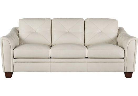picture of Cindy Crawford Home Marcella Ivory Leather Sofa from Leather Sofas Furniture