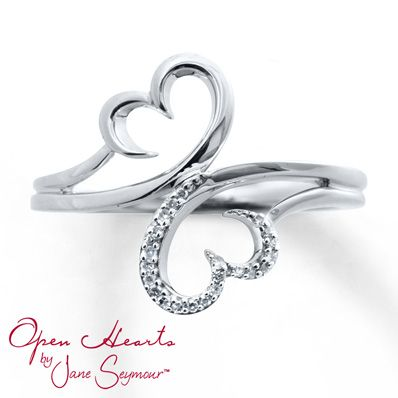 The unmistakable Open Heart design is beautifully portrayed in this diamond ring for her. From the Open Hearts Family by Jane Seymour collection, the sterling silver ring has a total diamond weight of 1/20 carat.