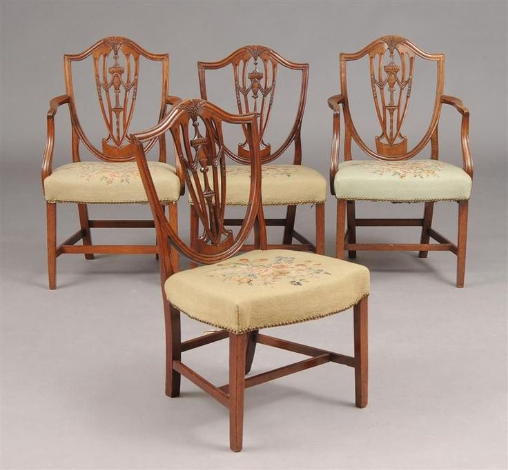 Set Of EIGHT Period American Hepplewhite Dining Chairs
