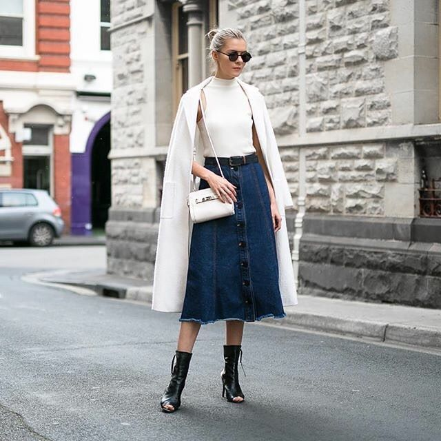 What a perfect day today hope everyone had a fab weekend! Styling my 80s denim skirt with contemporary classics @shakuhachi @topshop_au @coach @minty_meets_munt @nceyewear  by thetrendspotter