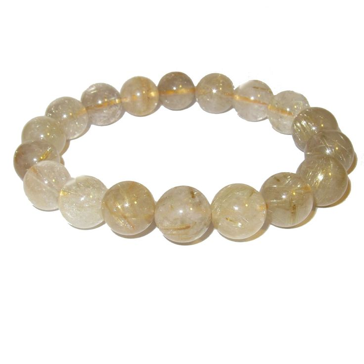 SatinCrystals Quartz Bracelet Rutilated 13 Mm Deluxe Big Round Stones Gold Inclusions, Men Women Earth Fashion Healing Crystal (Gift Pouch)