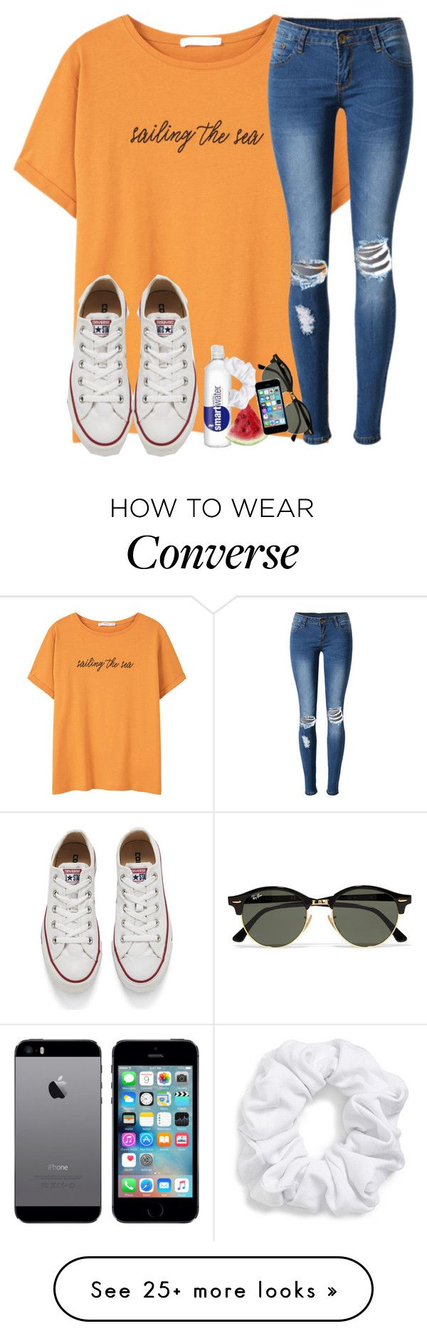 """qotd: what was your high and low today?"" by madiweeksss on Polyvore featuring MANGO, WithChic, Converse, Ray-Ban and Natasha Couture"
