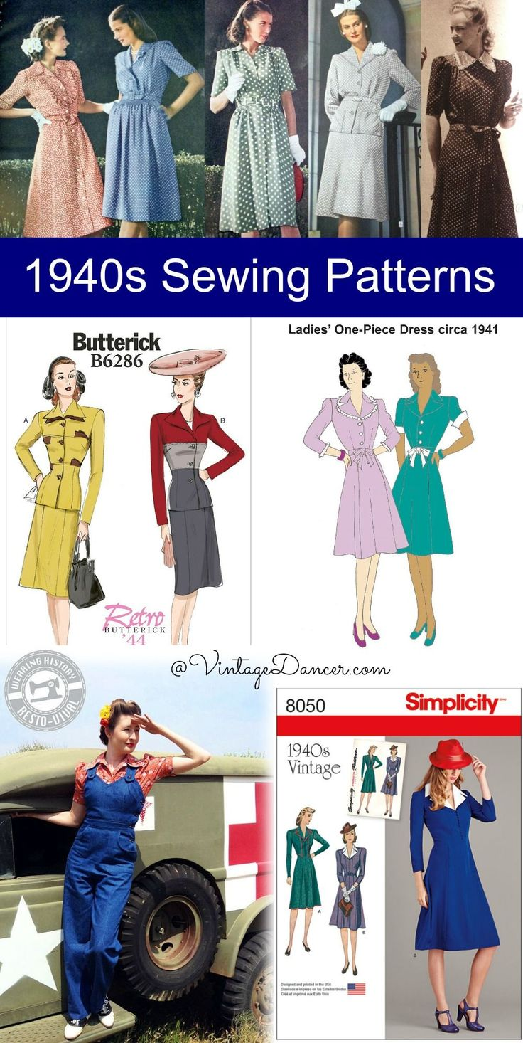 1940s sewing Patterns- Over 200 patterns for dresses, skirts, blouses, overalls, pants, coats, playsuits and lingerie! Shop at VintageDancer.com