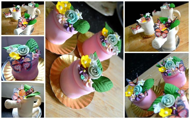 Flower pot and watering can cupcakes. Handmade for Pink Ribbon fundraiser