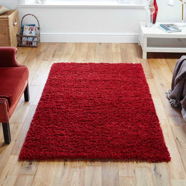 This Soft Red Shaggy Rug Benefits From Being Stain Resistant Colourfast Water Repellent And