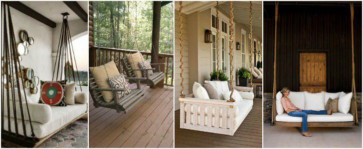 1 - Cosy Wood Swing source Like the mix of old and new, tin roof, wouldn't do the swing tho, just giant cushy bench. 2 - Porch Swings with Ropes source Man
