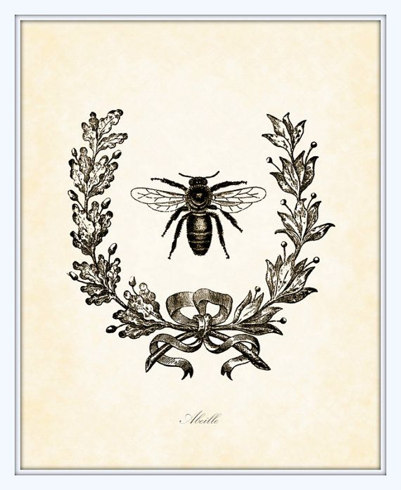Vintage French Bee With Berry Wreath Botanical By BelleMaisonArt