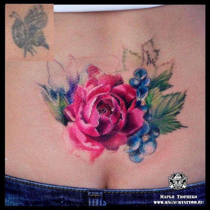#MT_Наши_работы@magnummoscowtattoo  Начало еще одного перекрытия старой татуировки ярким акварельным цветком в исполнении Марьи Тюрпеко! На втором сеансе добавится зеленый фон листьев ждем продолжения)  #magnumtattoostudio #марьятюрпеко #магнумтату#tattoo #тату #татувмоскве #art #watercolor #watercolortattoo #акварель #цветоктату #смородинатату by stupenka_