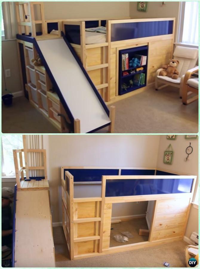 DIY Side Slide Bed Playhouse Instructions-DIY Kids Bunk Bed Free Plans #Furniture