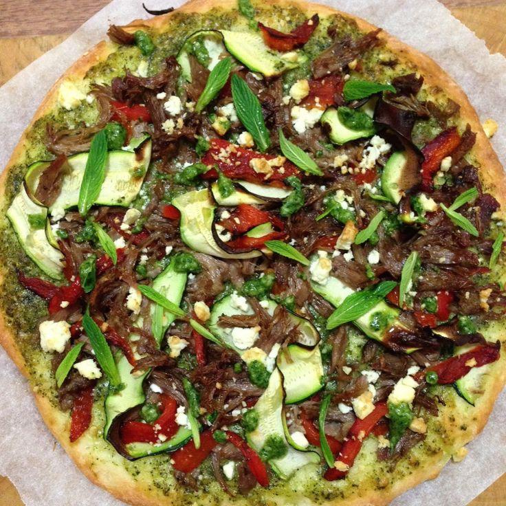 Greek Yoghurt Pizza with Lamb and Mint Pesto...  #sugarfree #fructosefree #pizza #healthy #dreamingofalmonds #wholefoods