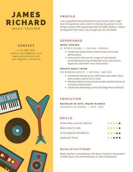 70 best Resume images on Pinterest Infographic resume, Resume - resume music