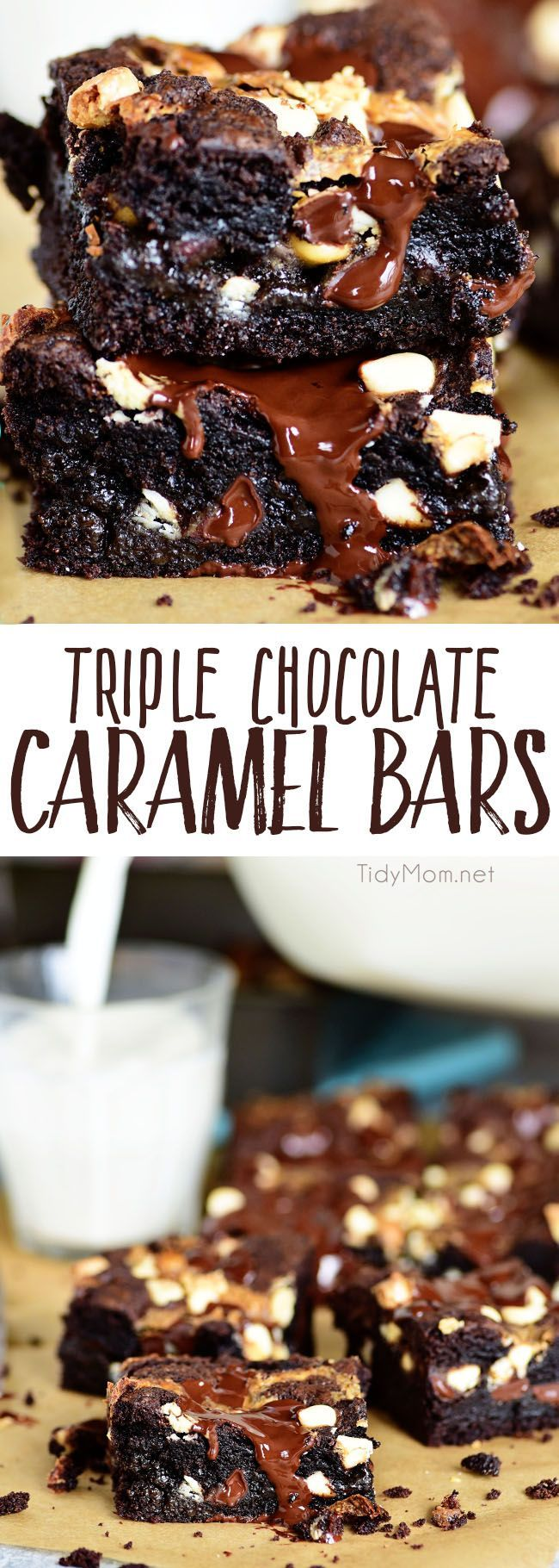 Triple Chocolate Caramel Bars are like a thick chewy brownie only better!!  These indulgent cake mix bars are always a hit and easy to make! Print the full recipe at TidyMom.net via @tidymom