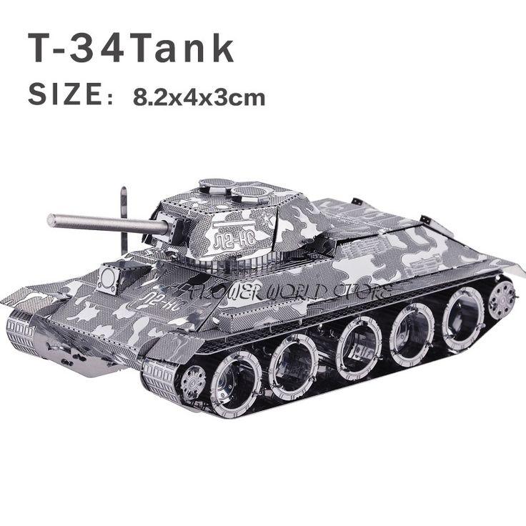 Kreatif baru tank 3D logam model 3D teka-teki, Kreatif DIY T-34 tank Jigsaws dewasa / anak-anak hadiah mainan, Retro tank dll