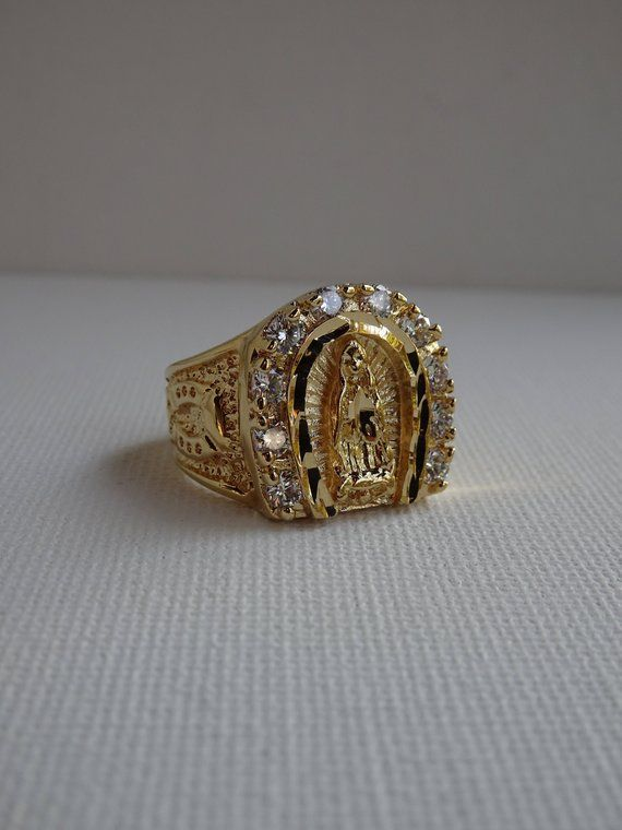 7675e8b4e213b Gold Ring Mother Mary Virgin Mary Gold Ring CZ Cubic Zirconia Ring ...