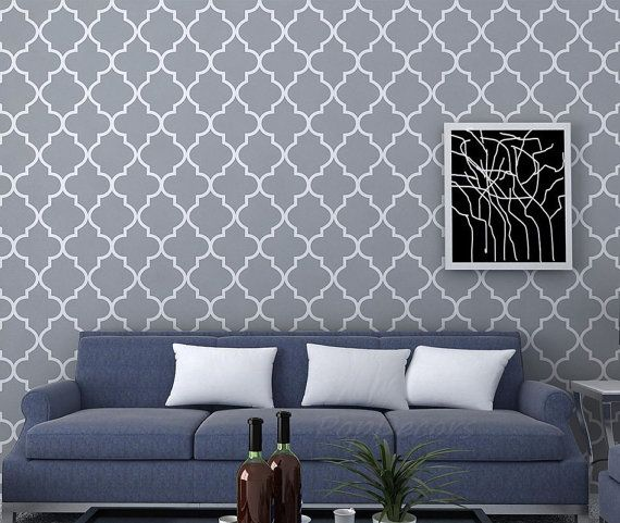 Fabric Re-positionable Wallpaper Moroccan 2 - Just Peel and Stick Custom  Colors Wallpapers Office Removable Fabric Wall Decors prt0032