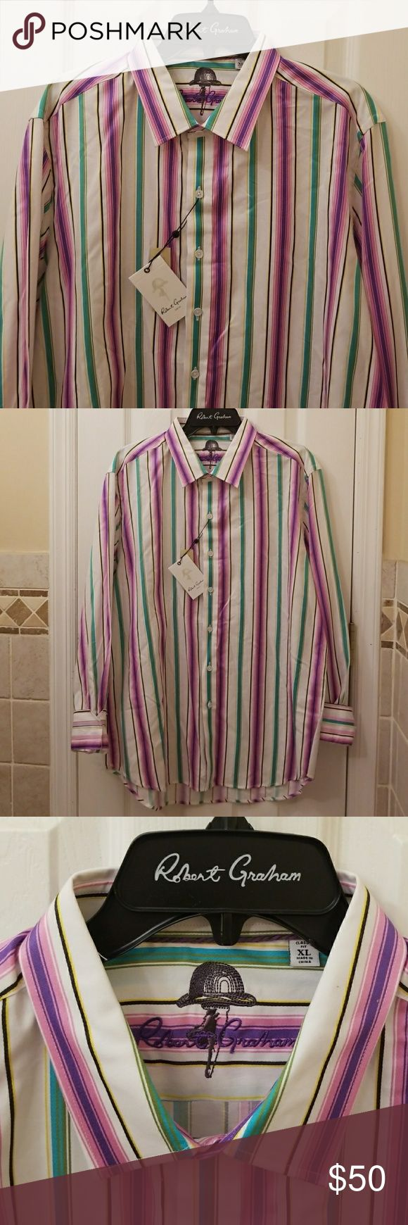 Robert Graham button down size XL Robert Graham button down shirt size XL - beautiful colors , stripe pattern , pre owned, brand new, never used . Premium Robert Graham quality. Robert Graham Shirts