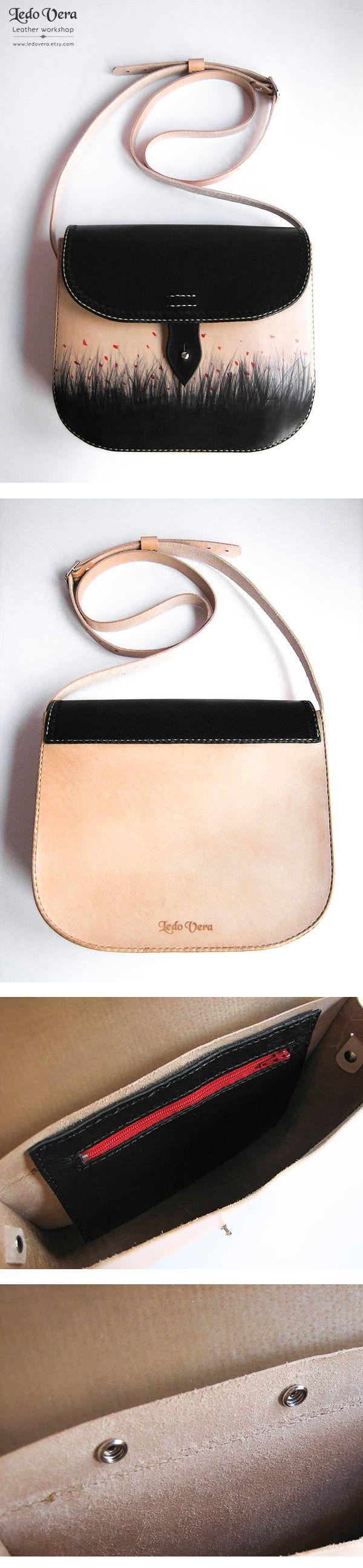 Bolso de cuero hecho a mano. Handcrafted leather purse. Hecho en España #ledovera #leatherwork #marroquineria #bolsos #moda #etsy #madeinspain