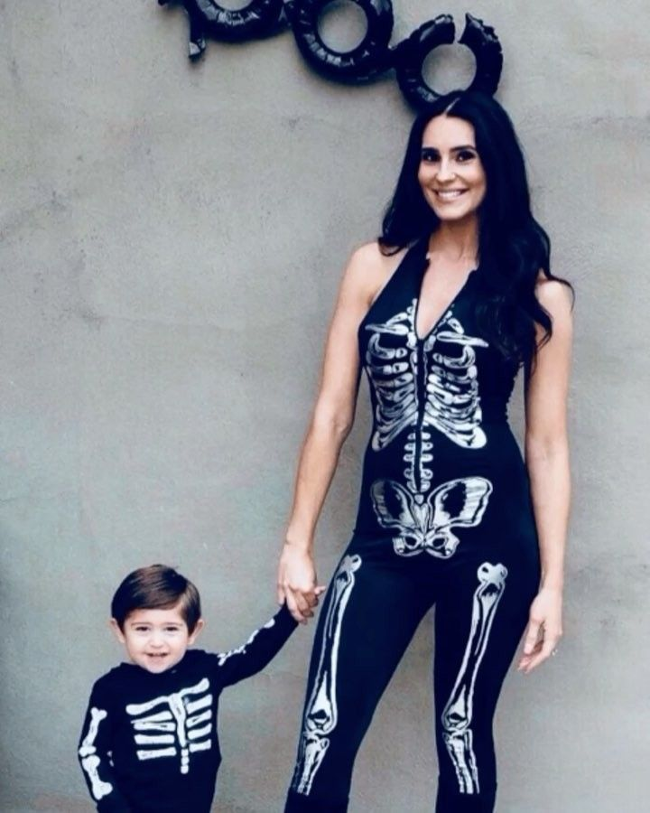 Skeleton Family Halloween Costumes.Mother And Son Matching Halloween Costumes Skeleton Family