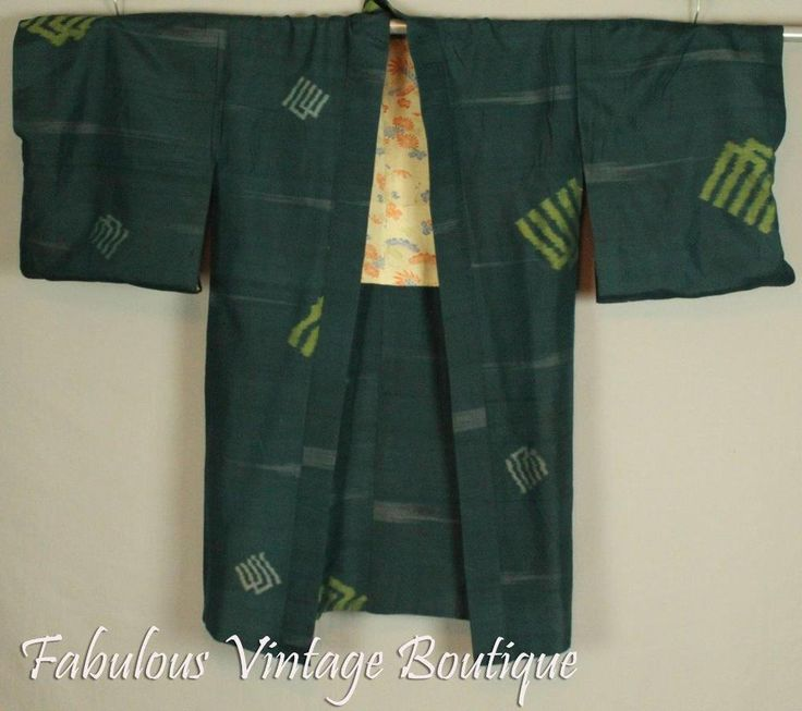Vintage 50s Teal Green Raw Silk Dress Coat Yukata Kimono Japanese Robe Jacket #Unbranded