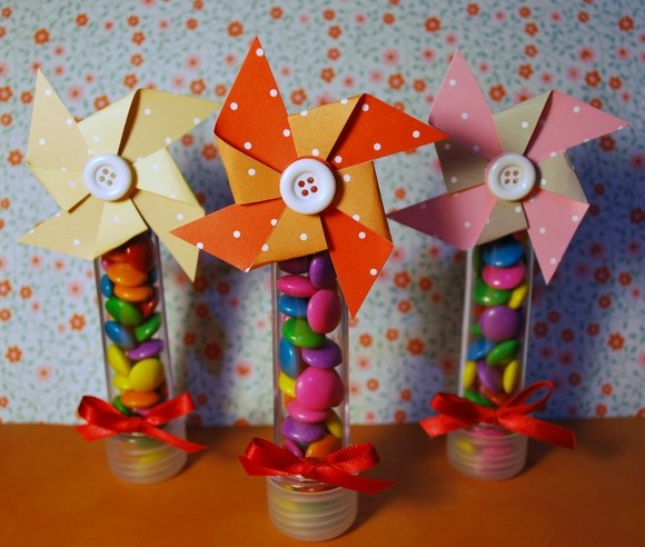 Tubes - with windmill (pinwheel) scrapbook paper and button