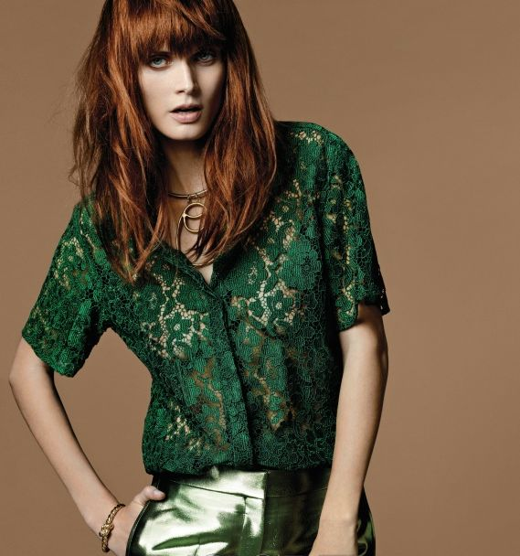 With attitude. #Emerald #Green #Lace #Blouse