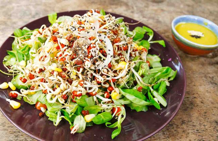 Here is a simple wholesome lunch menu. Starting with the Bean Sprout and Corn Salad made with a lemony mustard sauce dressing. Serve it along with a hot corn chowder soup and garlic bread for a light lunch or dinner.  Click on the images below for the recipes. Don't forget to tell us which is your favorite salad dressing. #EverydayCooking #Recipes