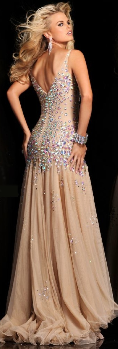 Sherri Hill Embellished Chiffon Gown 2013 that looks Vintage Inspired by Old Hollywood Glamor