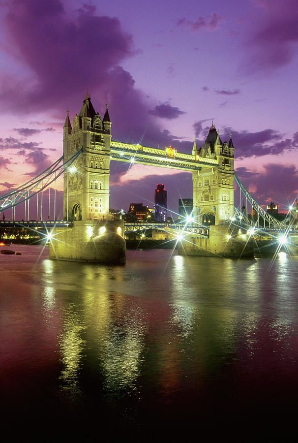 Tower Bridge At Night, London, England Photograph by Medioimages/Photodisc - Tower Bridge At Night, London, England Fine Art Prints and Posters for Sale