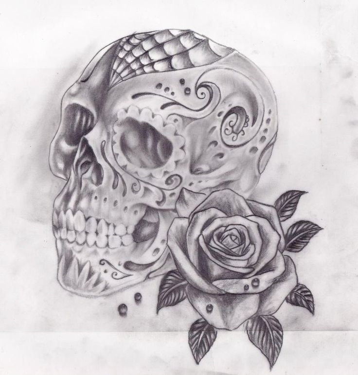 This is beautiful  skull art | Skull and roses by ~Slabzzz on deviantART