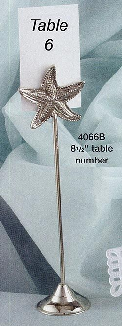 Create a by-the-beach theme for your wedding reception with this starfish silver table number stand. It's 8.5 inches high and comes in sets of 4. $36.95 for 3 sets or more.
