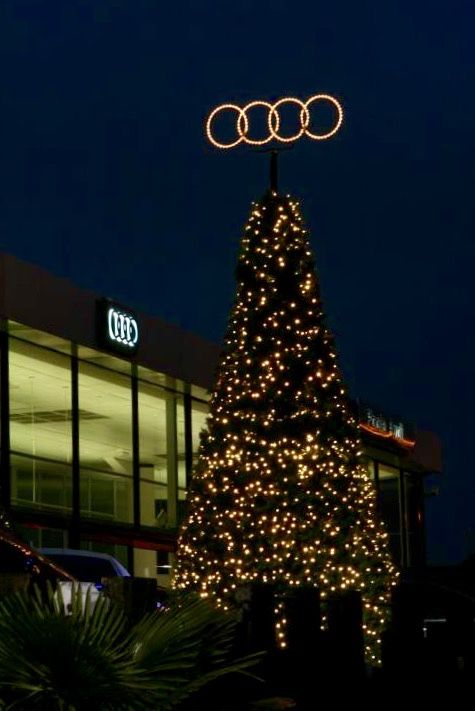"Bespoke Christmas Decorations are our forte. Our decorations are bound to get your band noticed. The ""Audi Tree"" at Poole Audi is a great example."