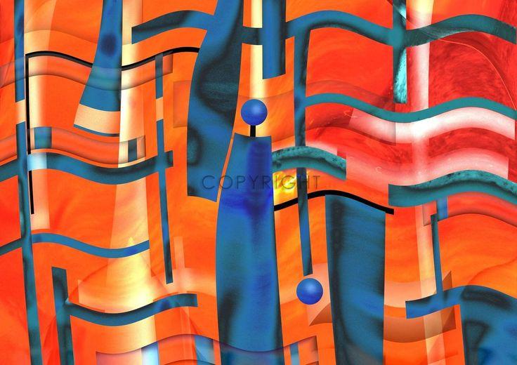 Fließende Linien und Objekte in Rotorange und Blau. Moderne Optik   #Kunstdruck #Kugeln #blaue #rot #Farbfelder #Konstruktivismus #Kubismus #Kerzen #Neokubismus #Kunstobjekte #Kunstgeschenke #Justitia #Rechtsprechung #politisch #Rechtsanwalt #Anwalt #Kanzlei #Gesellschaft