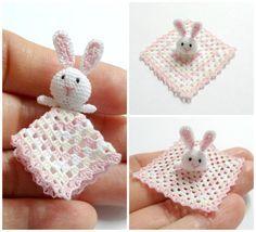 1:12 Dollhouse miniature baby crochet safety blanket with little bunny by MiniGi…
