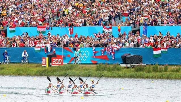 The teams of Great Britain and Belarus compete in the Women's Kayak Four (K4) 500m Sprint final during the Canoe Sprint on Day 12 of the London 2012 Olympic Games at Eton Dorney