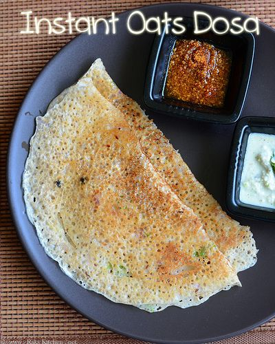 Instant oats dosa recipe - Indian oats breakfast recipes, oats breakfast recipe - this is so easy to make, just mix all the ingredients and your crispy, tasty dosa ready!