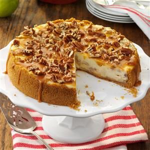 Caramel Apple Cheesecake Recipe -This recipe won the grand prize in an apple recipe contest. With caramel both on the bottom and over the top, every bite is sinfully delicious. —Lisa Morman, Minot, North Dakota