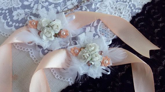 Wedding wrist corsage salmon wedding corsage satin by Rocreanique