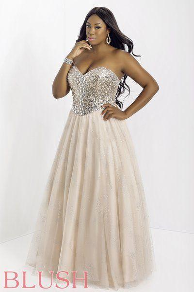 Blush Crystal Ballgown on The Curvy Fashionista #plussizeprom
