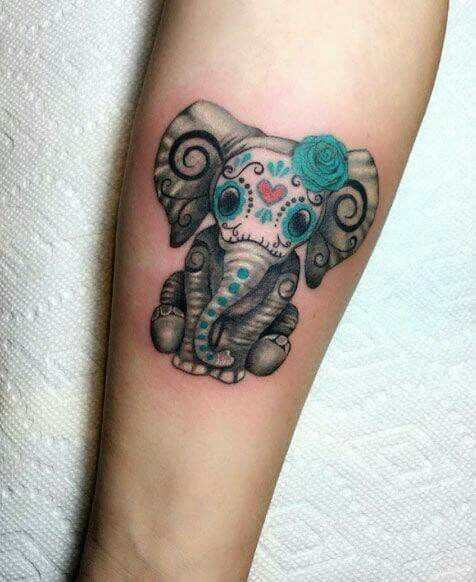 Sugar skull elephant tattoo