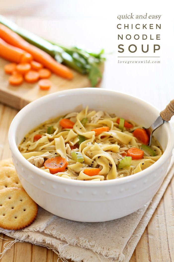Quick and Easy Chicken Noodle Soup - a delicious homemade soup ready in under 30 minutes! Get the recipe for this easy meal at LoveGrowsWild.com