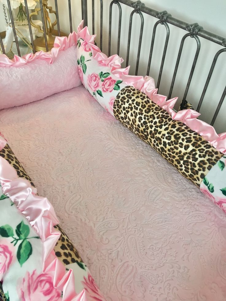 Ritzy Baby Designs, LLC - Pink Heartbreaker Rose, Baby Pink Paisley, and Leopard Crib Bumper, $235.00 (http://www.ritzybaby.com/pink-heartbreaker-rose-baby-pink-paisley-and-leopard-crib-bumper/)