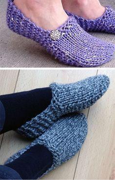 Padrão de tricô para chinelos Kwiki fáceis - sem costura, rápido e fácil. Esses deslizamentos ...